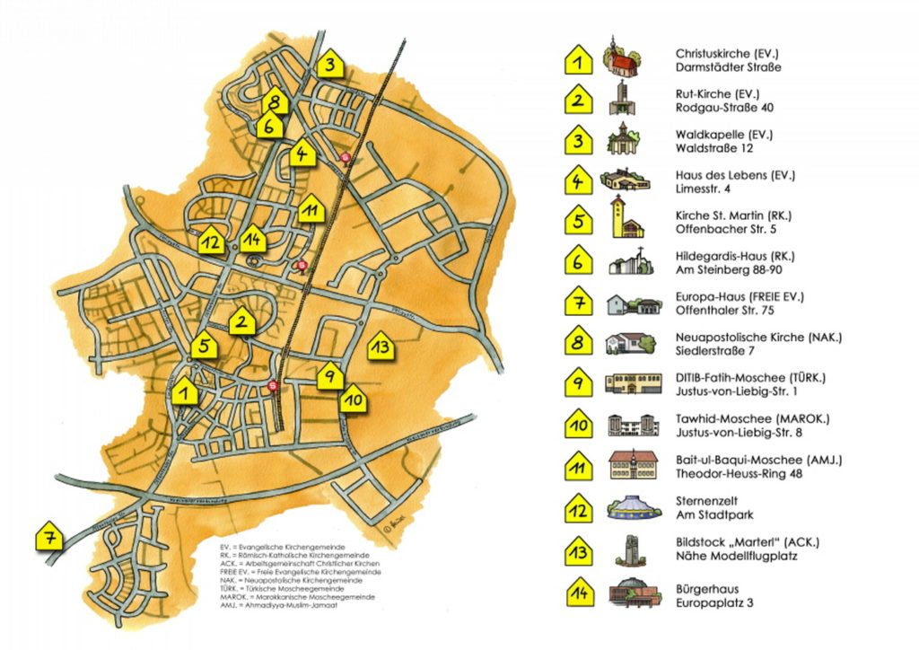 Karte von Dietzenbach mit den ARD-Mitgliedsgemeinschaften